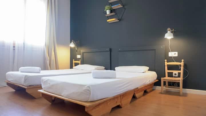 Habitación privada twin y baño compartido