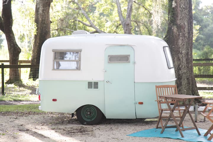 Adorable Vintage Camper on Farm with Animals