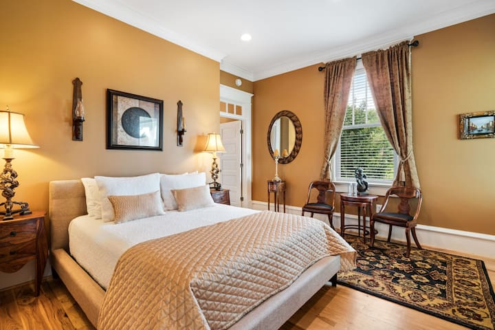 The Thoreau Pond Suite (queen) includes direct front porch access, and an oversized two-person jacuzzi tub and rainhead shower.