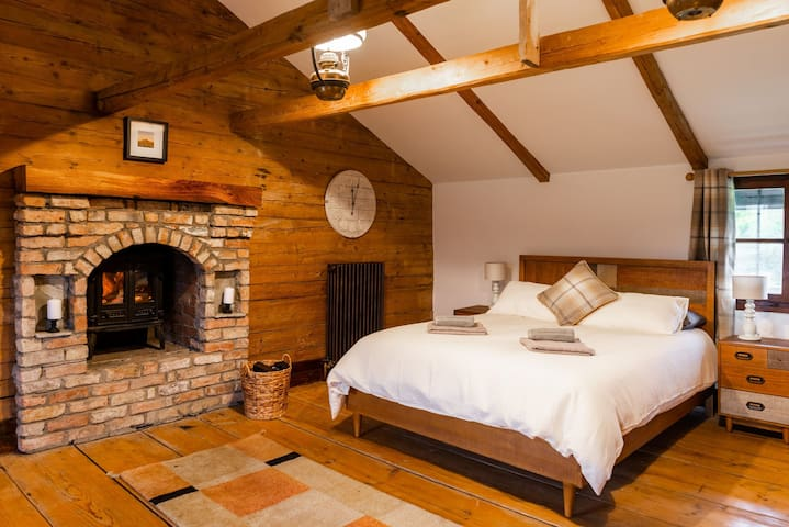 Master bedroom with stove