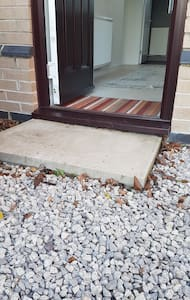 A low step 8cm,  76cm wide (including open door)