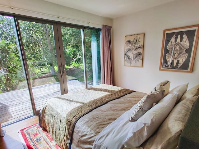 Gorgeous views of native bush from the very private bedrooms.