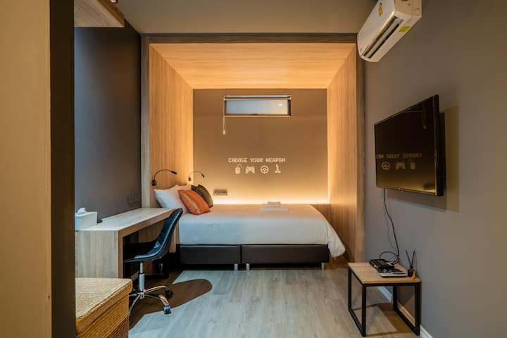 Tk bed 1 ห้องพักกลางเมืองสำหรับ2ท่าน
