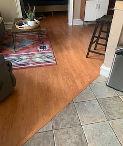No carpet and flat transitions in the condo.