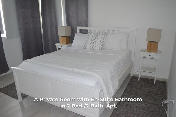 Private bedroom, queen size bed.