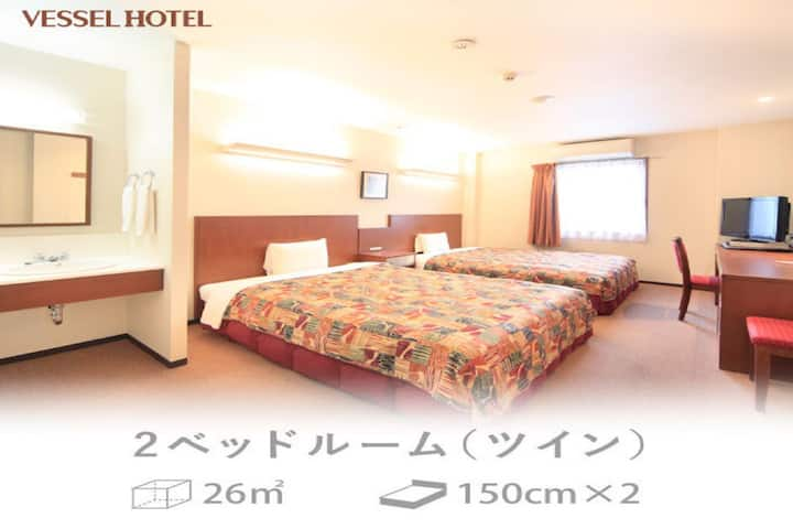 2 Spacious beds/NonSmoking/26sqm/Breakfast