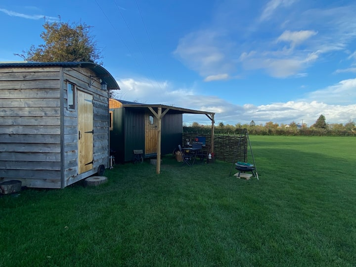 Shepherds hut with log burner in Oswestry