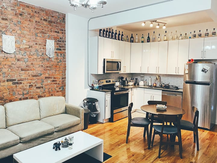 Bushwick room exposed brick, washer, terrace -#116