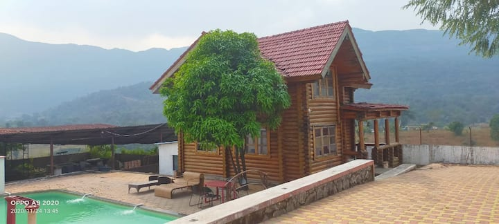 3 Bhk Log House with private swimming pool