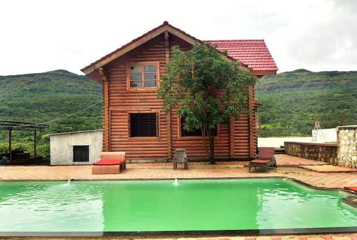 Wooden Log House 3 BHK With Private Pool Lonavala