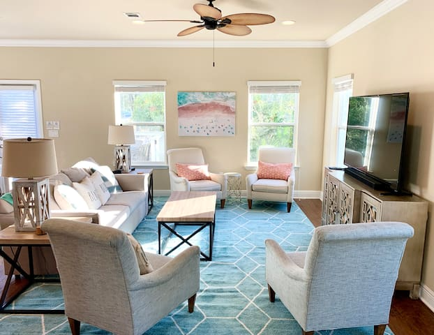 Plenty of room to sit around and chat with your group or play board games. The sofa is a sleeper and features a brand-new queen sofa bed mattress.