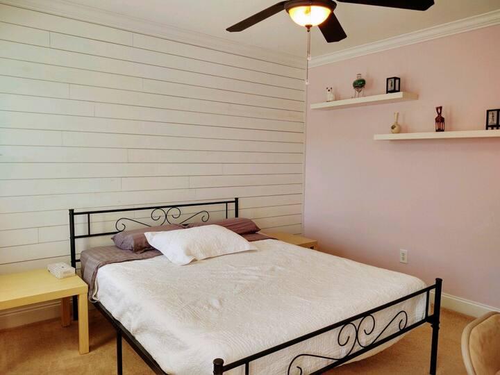 Cozy guest bedroom in custom built house