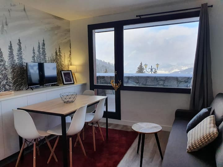 2 ROOMS ENTIRELY RENOVATED SUPERB VIEW ON THE VALLEY SKI IN & SKI OUT