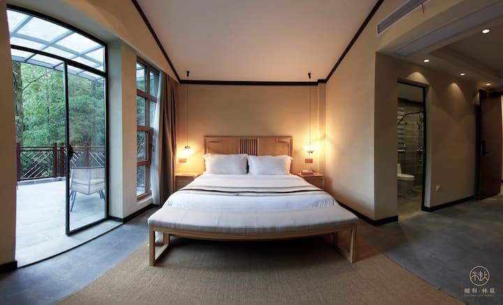 【樾和 林泉】黄陂木兰风景区轻奢民宿、阳台景观大床房