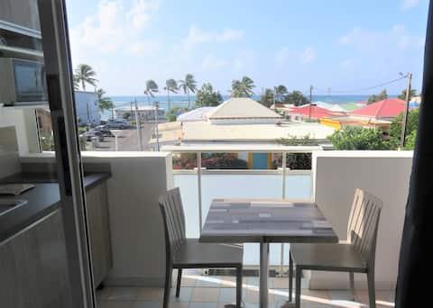 Studio 2 vue mer 50m plages Marina avec internet