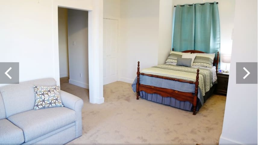 2nd bedroom is open to upstairs living room and features a double bed. The sofa bed is a sleeper sofa.