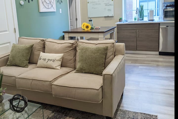 """Living Room has a Sofa Bed with a Queen-Size 5"""" memory foam mattress so you will have a very comfortable sleep experience."""