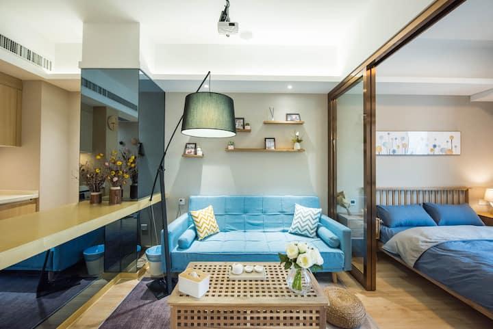 【小蓝&Max投影】精装公寓,可洗衣丨大明路地铁站,近宜家,南京南丨一居室可住两人丨打卡网红羊肉串