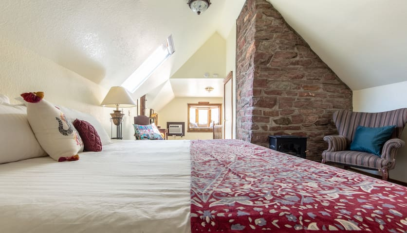 The Onaledge Suite features two rooms and a bath on the third floor. Best view in the house of the terrraces known as The Manitou InnClimb.