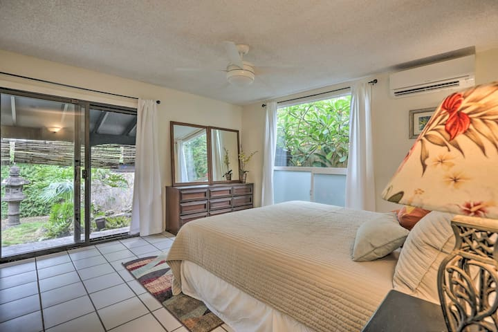 Master bedroom has direct access to the koi pond.