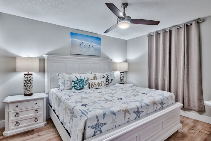 Master bedroom with high quality solid wood bedroom furniture, super comfy gel foam mattress. All pillows and mattresses are double protected with encasements.