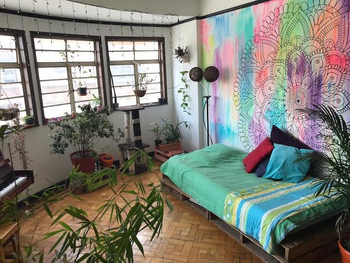 Canapé aux salon d'appartement d'artistes
