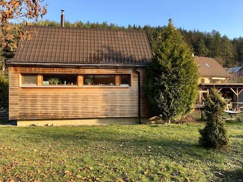 la cabaña de madera en la isla de Lietava