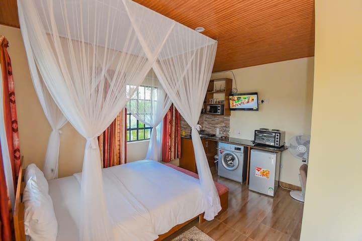 Showing Queen bed, washing machine, fridge, microwave,  Smart TV, the fan, etc.