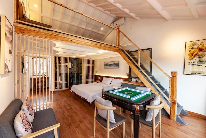 西塘亦心民宿景区内独栋两层可睡六人带麻将投影