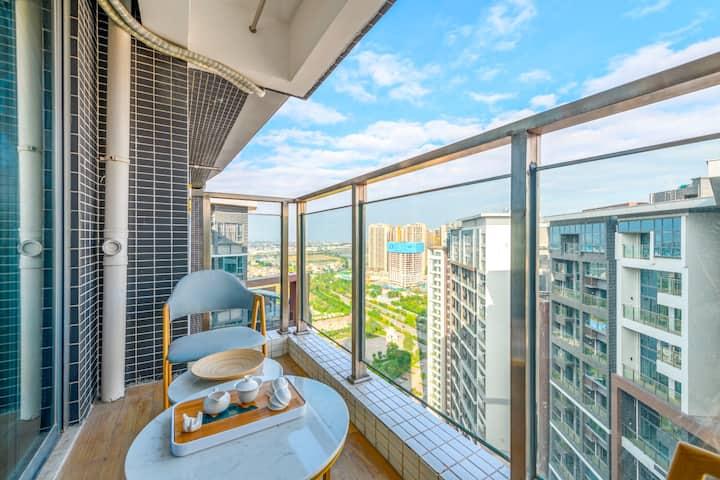 景观露台|豪华两房一厅双阳台|可做饭洗衣服|免费停车|中山北站|石岐8分钟车程