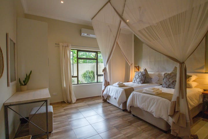 All Rooms have air-conditioning as-well as a ceiling fan and mosquito nets.
