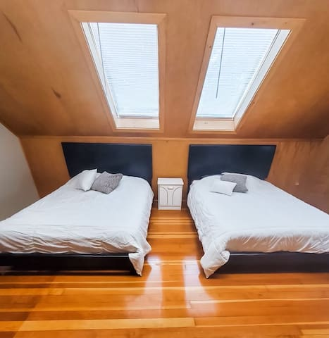 Upstairs Bedroom, two queen beds and private bathroom