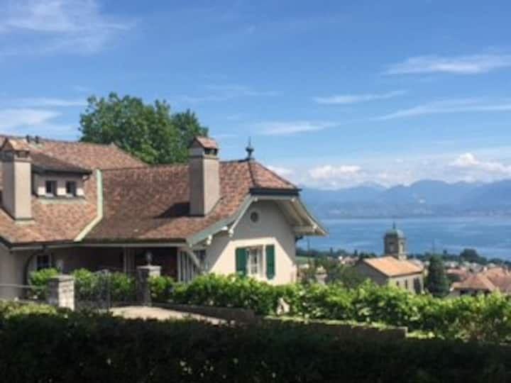 Mont-Sur-Rolle House with Vineyard & Lake View