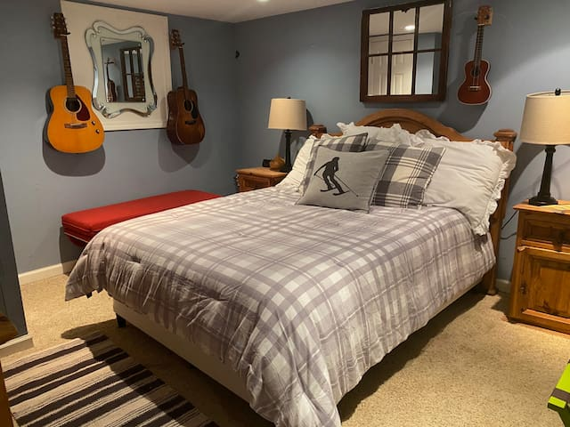 Basement bedroom with double bed
