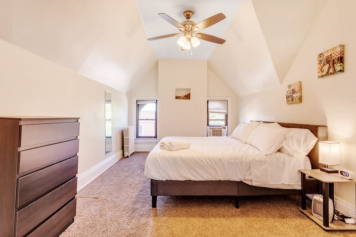 This is the 2nd bedroom with the same King-sized memory foam mattress by Nectar along with a dresser. There is plenty of space in this bedroom along with ample closet space.