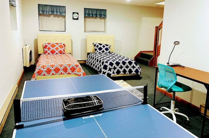 Bonus Room - 2 Single Beds w/Dresser ,  Workstation with Chair and Ping Pong table