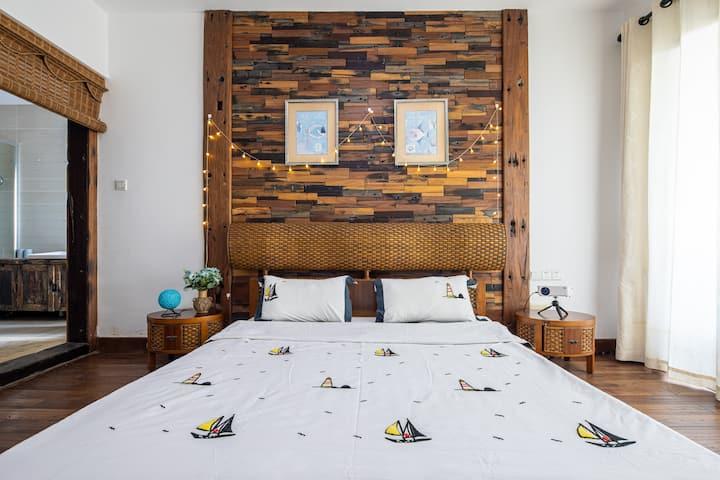 三亚湾椰梦长廊高空海景两室一厅阳台浴缸