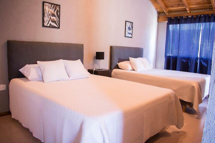 1 habitación con dos camas