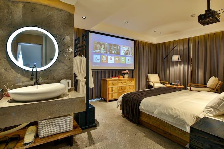 天门山索道/别墅小区/含早餐和接送/带投影的观景大床房