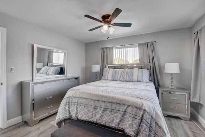 Master bedroom with queen set