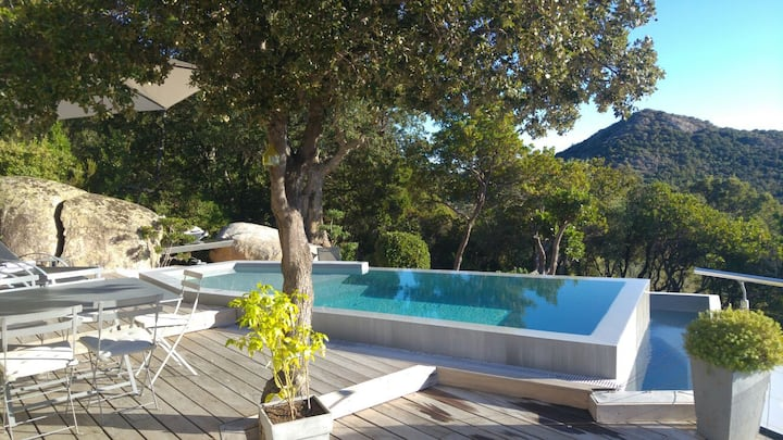 Villa Ambre, piscine chauffée, wifi clim, plage 7'