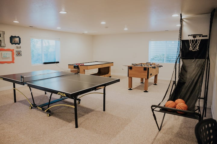 Family Centered Basement | Game Room | Projector