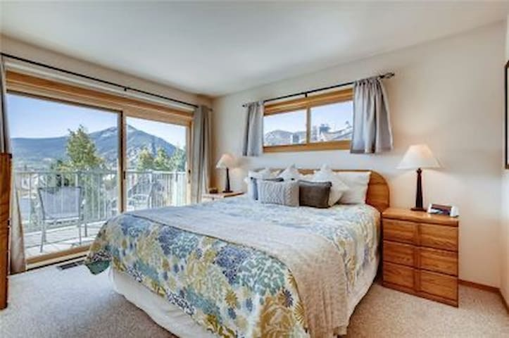 Master bedroom, king bed, with TV, dresser, closet
