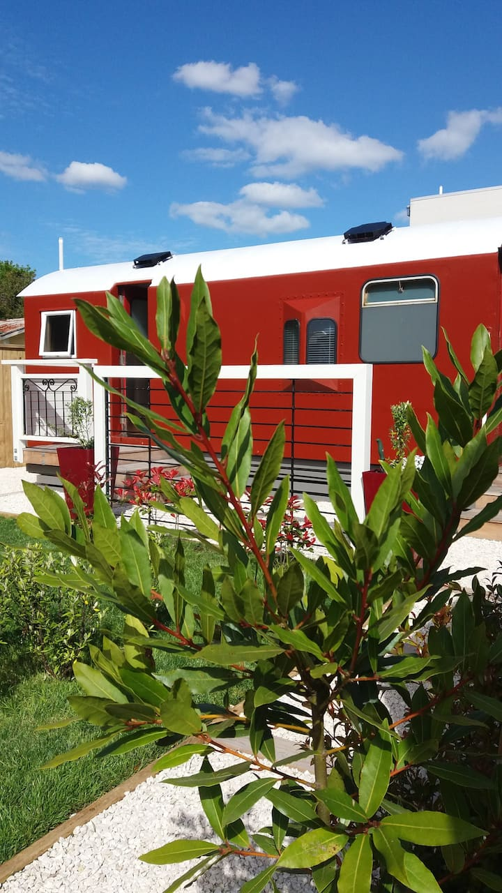 The Red Train Carriage, Paeroa, New Zealand