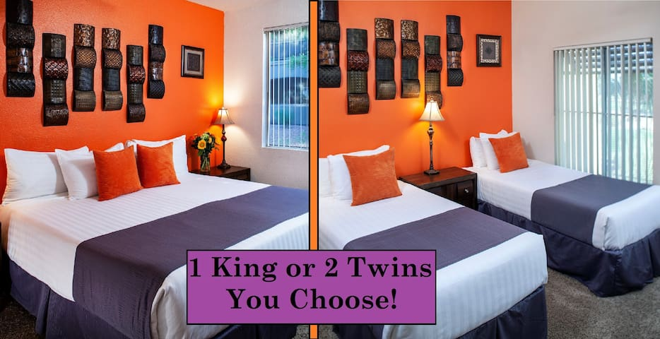 Second bedroom: Customize with 2 XL Twin Beds or 1 King Bed