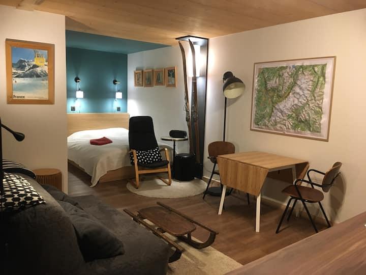 Studio neuf village des Praz  vue sur Mont-Blanc