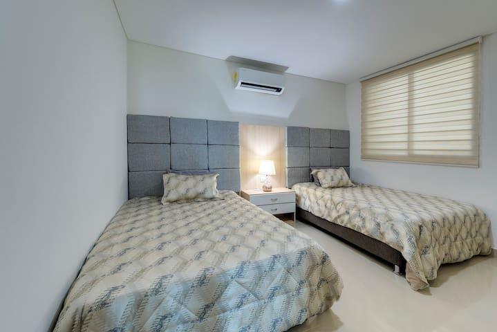 Full Size Bed Suite w/ Samsung Smart UHD LED + security safe