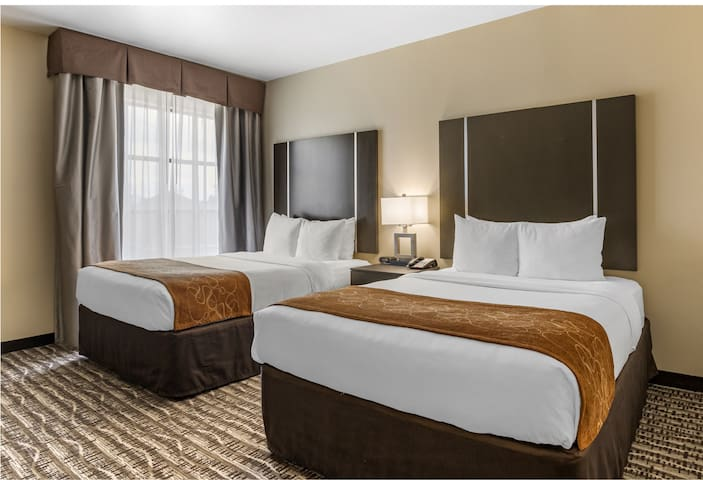 This suite has a tea/coffee maker, cable TV and seating area. Suite -382 Sq feet