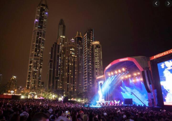 Dubai Media City Amphitheater Front, Skyline View