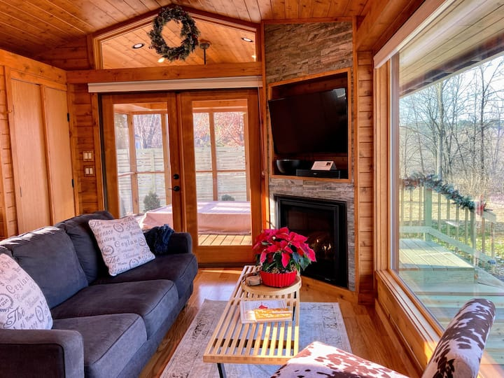 cabin living room with large window